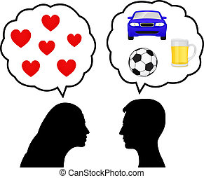 Silhouettes of a young woman thinking of love and a young man thinking of cars, drink and soccer
