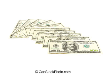 Thousand Dollars - Ten hundred dollars notes isolated on ...