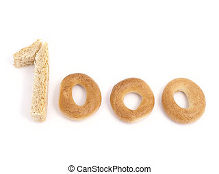 Thousand - Figure 1000 which has been laid out from bakery ...