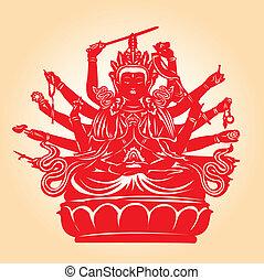Thousand hands Buddha. - Thousand hands Buddha in red...