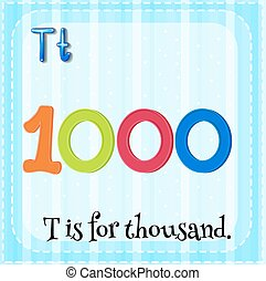 Thousand - Flashcard letter T is for thousand
