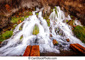 Thousand Springs Idaho close up of a waterfall with collection system