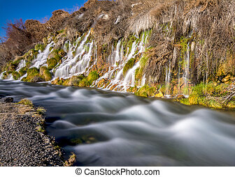 Thousand springs Idaho mini waterfalls - Many small...