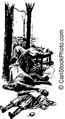 Thousands of the drinkers had been frozen to death, vintage engraved illustration.