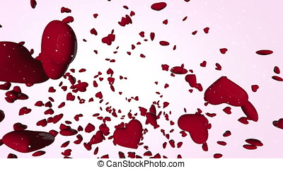 Thousands Red 3D Hearts