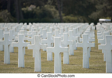 Thousends of Grave Stones at the American Cemetery in Colleville-sur-Mer at Omaha Beach, Normandy, France