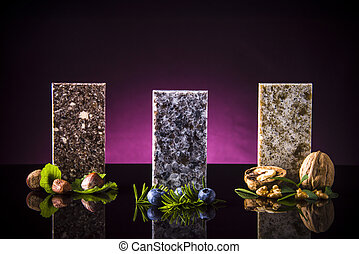 Threa beautiful color samples of kitchen countertops