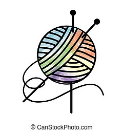 Thread and needles for knitting -vector image