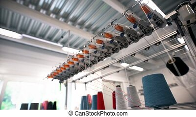 Thread coils on textile factory