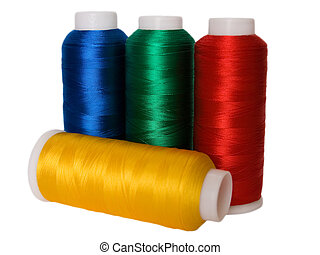 Hanks of multi-coloured threads for embroidery on a white background