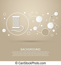 Thread Icon on a brown background with elegant style and modern design infographic. Vector