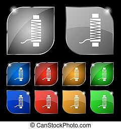Thread Icon sign. Set of ten colorful buttons with glare. Vector