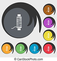 Thread Icon sign. Symbols on eight colored buttons. Vector