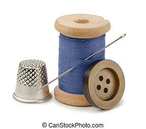 Thread, needle and thimble