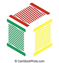 Thread sign illustration. Isometric style of red, green and yellow icon.