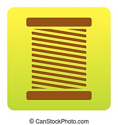 Thread sign illustration. Vector. Brown icon at green-yellow gradient square with rounded corners on white background. Isolated.