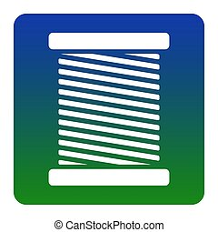 Thread sign illustration. Vector. White icon at green-blue gradient square with rounded corners on white background. Isolated.
