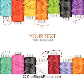 Thread Spool Banner. Vector - Thread Spool Banner Row Border...