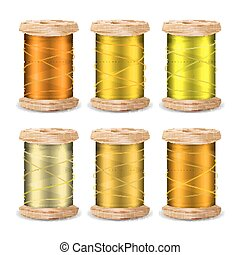 Thread Spool Set. Bright Old Wooden Bobbin. Isolated On White Background For Needlework And Needlecraft. Stock Vector Illustration
