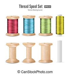 Thread Spool Set. Bright Plastic And Wooden Bobbin. Isolated On White Background For Needlework And Needlecraft. Stock Vector Illustration