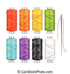 Thread Spool Set. Vector