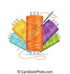 Thread Spool Set. Vector