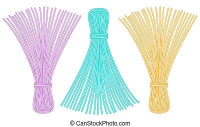 Thread tassel icons - Illustration of the thread tassel set