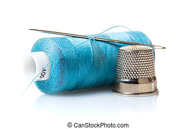 Thread with needle and thimble