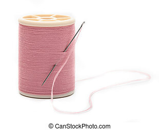 thread with needle isolated on white