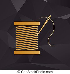 Thread with needle sign illustration. Golden style on background with polygons.