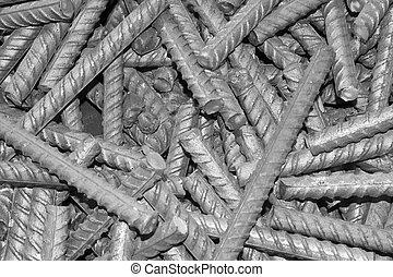 threaded metal rod, close up of screw thread