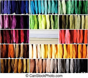 Threads for embroidery - Color threads and canvas for...