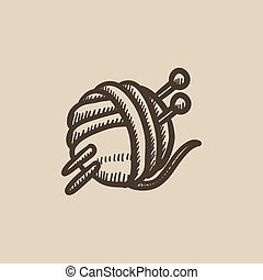 Threads for knitting with spokes sketch icon.