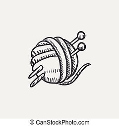 Threads for knitting with spokes sketch icon. - Threads for...