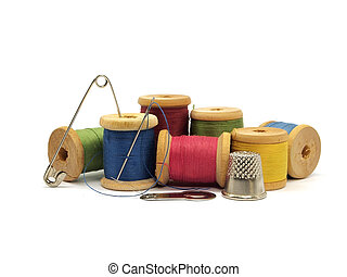threads, pin, needle and thimble on a white background