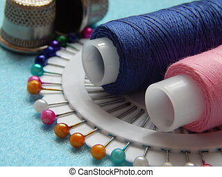 Threads, needles and tape