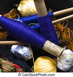 Threads used for textile weaving in Lombok, Indonesia