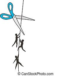 People on a cord and scissors. Life threat.