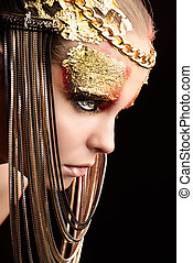 threatening - Art project: beautiful woman with golden make-...