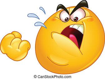 Threatening emoticon - Emoticon threatens with a fist