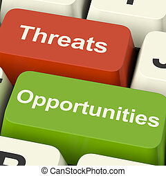 Threats And Opportunities Computer Keys Showing Business...