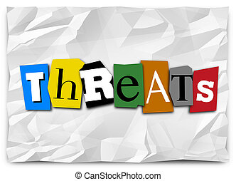 Threats Word Cut Out Letters Ransom Note Risk Danger Warning...