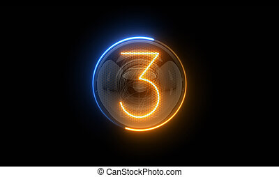 three., 表示器, nixie, digit., 3., 表示器, 3d., 3d, チューブ, ディジット, ガス, 解任, lamps., レンダリング