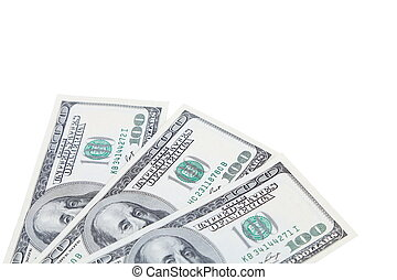 Three 100 dollars greenbacks
