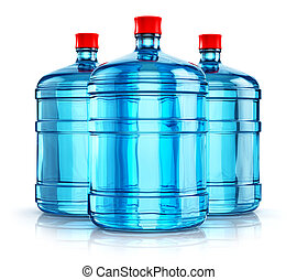 Three 19 liter or 5 gallon plastic drink water bottles - 3D...