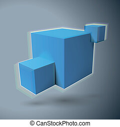 Three 3D cubes logo with aberrations