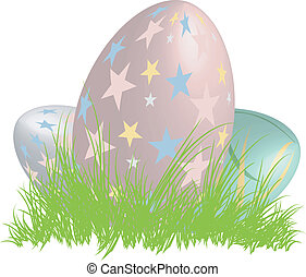 Three 3D easter eggs in nest vector