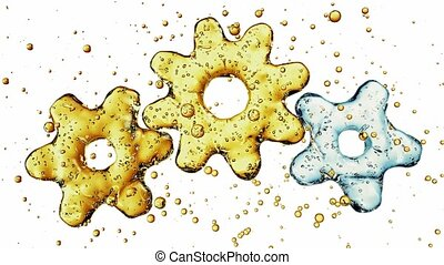 Three 3d gears made of water. 3d illustration, isolated on white background