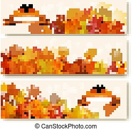 Three abstract autumn banners with colorful leaves. Vector