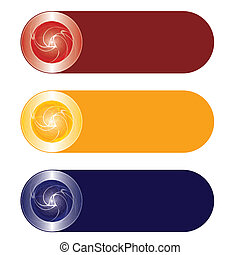 three abstract buttons